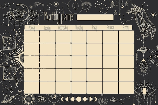 Planner mensile e settimanale. stelle, costellazioni, il sole e la luna. vintage retrò.