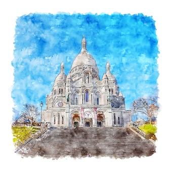 Illustrazione disegnata a mano di schizzo dell'acquerello di montmartre parigi francia