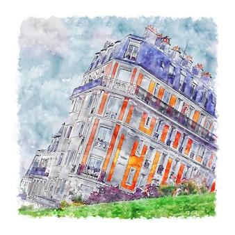Illustrazione disegnata a mano di schizzo dell'acquerello di parigi di montmartre