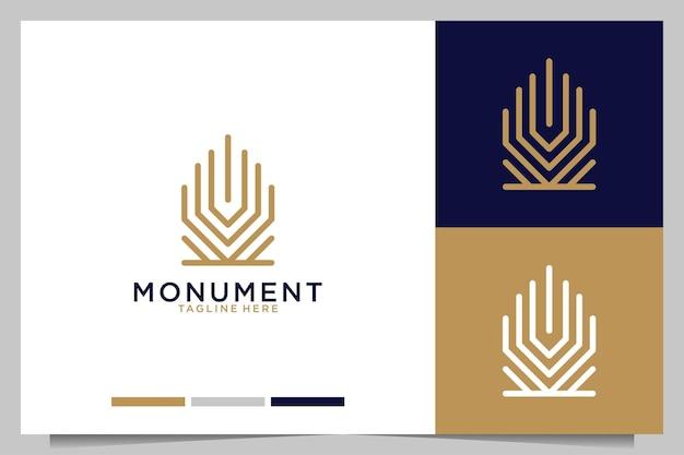 Monumento elegante linea art logo design