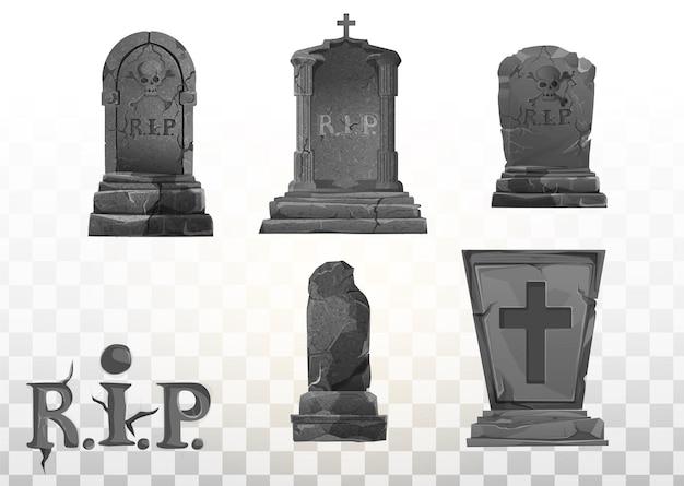 Monumento sulla tomba. pietra tombale nel cimitero. monumento grigio sulla tomba di rip. illustrazione del fumetto di vettore. insieme di elementi di halloween.