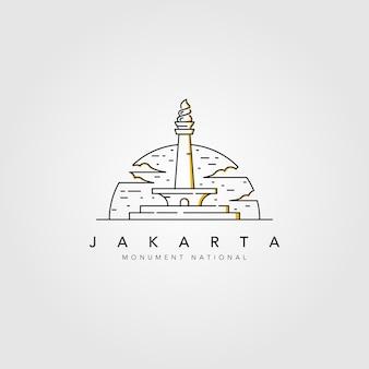 Monumento nazionale del logo della linea di jakarta