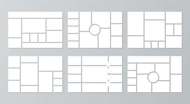 Griglia moodboard. modelli di collage. sfondo del bordo dell'umore. layout delle immagini del fotomontaggio.