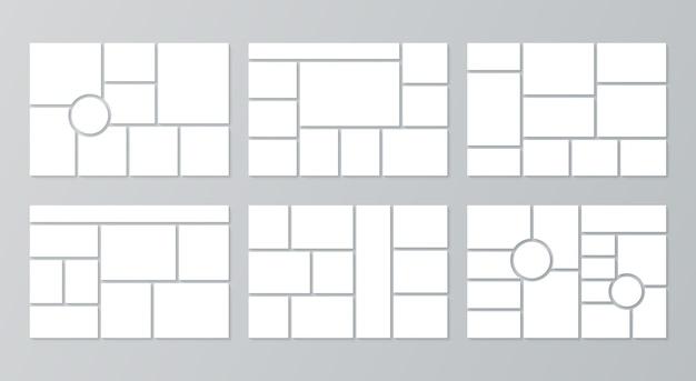 Modello di moodboard. griglia di collage di foto. vettore. mood board design con cerchio. impostare cornici a mosaico. progettazione orizzontale del mockup di montaggio. impaginazione dell'album fotografico. illustrazione semplice minimalista
