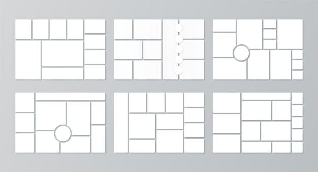 Modello di moodboard. layout di collage di foto. vettore. imposta moodboard. griglie di immagini sullo sfondo. banner cornice mosaico. album fotografico. progettazione orizzontale del modello di presentazione. illustrazione semplice.