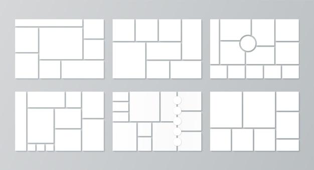 Modello di moodboard. collage di foto. vettore. imposta moodboard. griglie di immagini sullo sfondo. banner cornice mosaico. impaginazione dell'album fotografico. design orizzontale del mockup. illustrazione semplice.