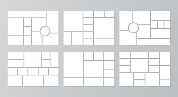 Modelli di moodboard. griglia di collage. vettore. sfondo del bordo dell'umore. set di layout di immagini.