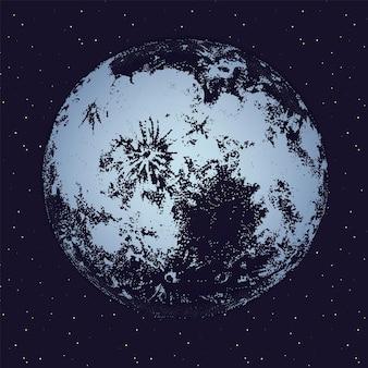 Luna contro il cielo notturno pieno di stelle sullo sfondo. corpo celeste, oggetto astronomico lunare o satellite nello spazio. illustrazione vettoriale monocromatica disegnata a mano in stile dotwork alla moda.