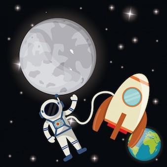Razzo di terra dell'astronauta della luna Vettore Premium