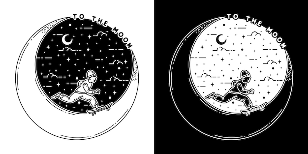 To the moon and back monoline badge design
