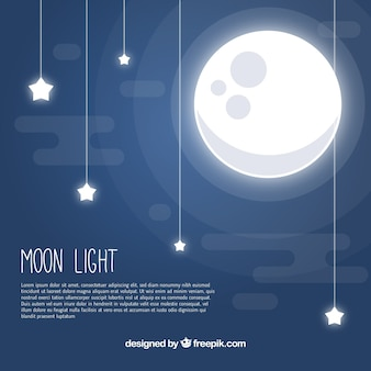 La luna di fondo con le stelle in design piatto