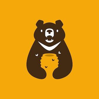 Luna orso nero miele alveare ape spazio negativo logo icona vettore illustrazione
