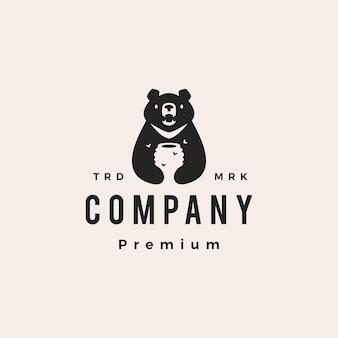 Luna orso nero miele alveare ape vietnam hipster logo vintage icona illustrazione vettoriale