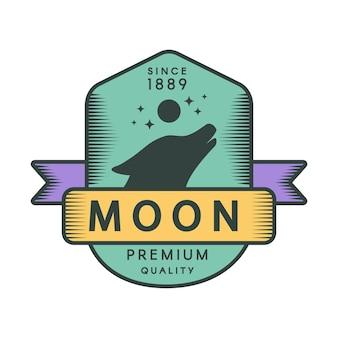 Modello di logo retrò colore luna. simbolo dell'annata di vettore della fauna selvatica della foresta. sagoma testa di lupo che ulula
