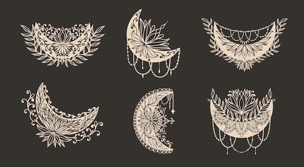 Luna mezzaluna fiore mandala boho decorazione stile alla moda