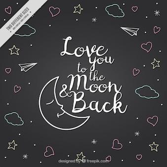 Luna e disegni con la frase d'amore