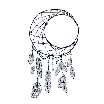 Luna dreamcatcher con piume e luna illustrazione vettoriale hipster isolato su bianco etnico desi Vettore Premium