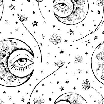 Luna, occhio, fiori sullo sfondo delle stelle. magia, previsioni. reticolo senza giunte di vettore dell'annata. schizzi grafici. ornamento astratto stile boho. design per carta da parati, avvolgere, tessile, cartolina, stampa.
