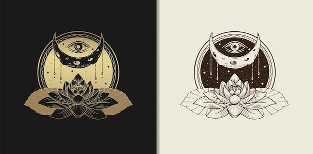Illustrazione disegnata a mano di stile dell'incisione dell'oro di lusso della luna, dell'occhio e del fiore di loto.