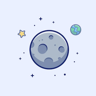 Icona luna. luna, stella e pianeta, icona spazio bianco isolato