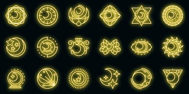 Icone della luna impostate vettore neon