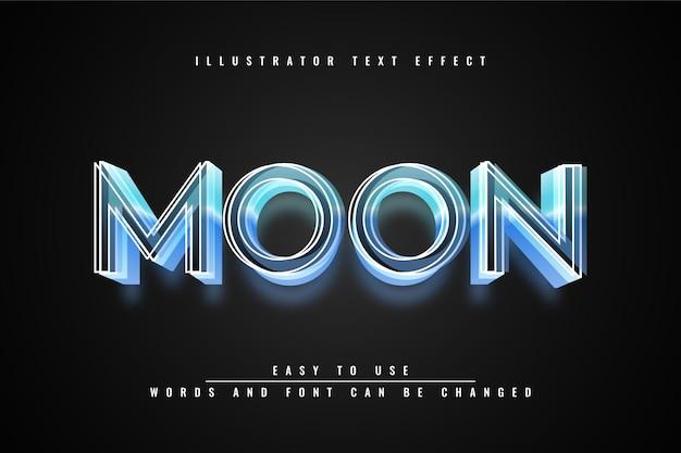 Moon - illustrator design modificabile effetto testo 3d