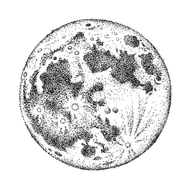 Illustrazione disegnata a mano isolata luna