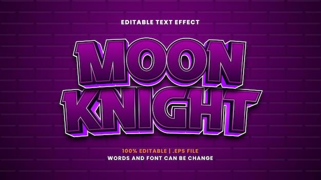 Effetto di testo modificabile cavaliere della luna in moderno stile 3d