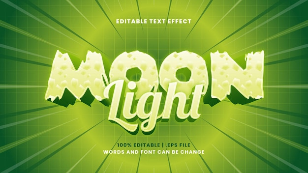 Effetto di testo modificabile al chiaro di luna in moderno stile 3d