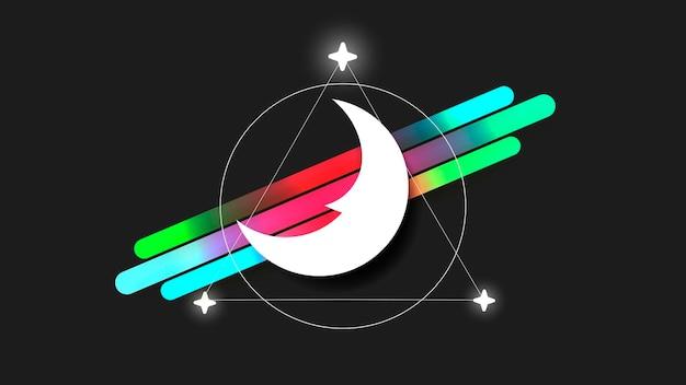 Logo della luna nello stile della linea arte su uno sfondo scuro. modello astratto. illustrazione vettoriale di disegnato a mano. simbolo nero di vettore semplice. logo della luna, icona di vettore della luna. il simbolo della notte.