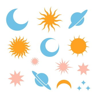 Luna luna eclissi stelle saturno e sole icone silhouette semplice segno del giorno e della notte celeste