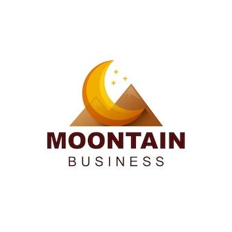 Design del logo sfumato di montagna della luna