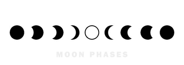 Insieme dell'icona di astronomia delle fasi lunari. l'intero ciclo dalla luna nuova alla luna piena. concetto di astronomia dello spazio notturno. vettore eps 10. isolato su sfondo