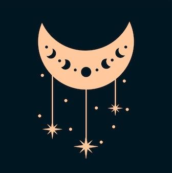 Fasi lunari elementi di design boho fasi bohémien dell'illustrazione lunare