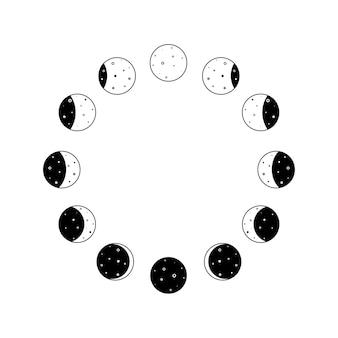 Fasi lunari icona circolare impostata in contorno nero silhouette intero ciclo di astronomia dalla luna nuova a com...