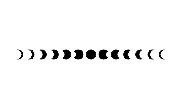 Icona delle fasi lunari impostata in nero. astronomia. spazio. eclisse. vettore su sfondo bianco isolato. env 10.