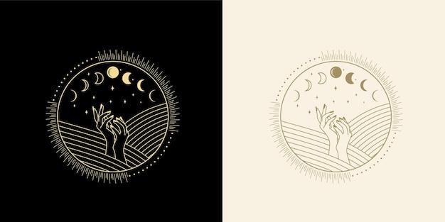Fasi lunari cristallo stella onda solare e geometria sacra per la guida spirituale lettore di tarocchi