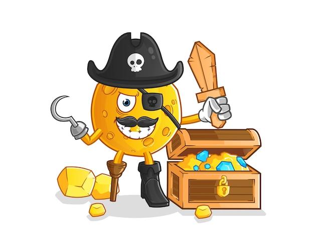 Pirata della luna con mascotte del tesoro. cartone animato