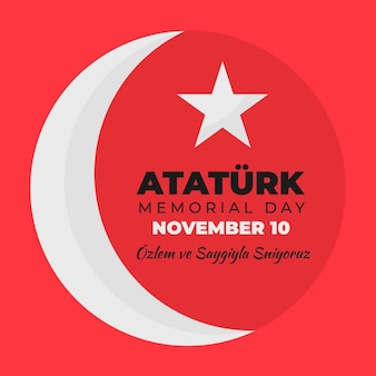 Luna e stella ataturk memorial day design piatto