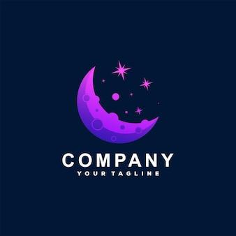 Design del logo sfumato con stella lunare