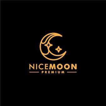 Vettore lineare dell'icona di progettazione del logo della stella della luna