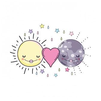 Luna e sole cartoni animati Vettore Premium