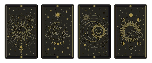 Tarocchi della luna e del sole. carte di corpi celesti disegnati a mano mistica, set di carte dei tarocchi magici