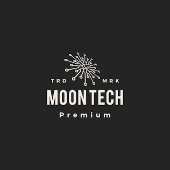 Luna tech mezzaluna tecnologia hipster logo vintage icona illustrazione