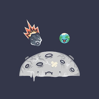 Luna con cartoon terra