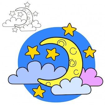 Luna con stelle e nuvole. pagina del libro da colorare