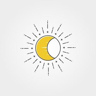 Luna con design creativo dell'illustrazione di simbolo dell'icona di vettore di logo del sole, stile minimo