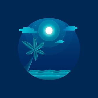 Illustrazione piatta della spiaggia al chiaro di luna con la palma dell'albero