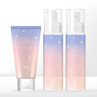 Confezione di tubi pastello con sfumature a tema olografico al chiaro di luna e confezione di flaconi trasparenti per pompa o spray