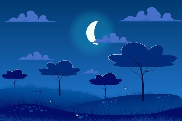 Notte al chiaro di luna al paesaggio del prato di primavera in stile cartone animato piatto